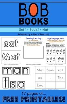 BOB Books Printables: Set 1, Book 1 MAT - In Lieu of Preschool - TeachersPayTeachers.com