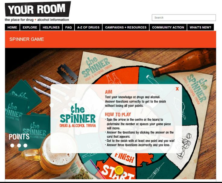 The spinner drug and alcohol trivia game - Your Room website - NSW Health