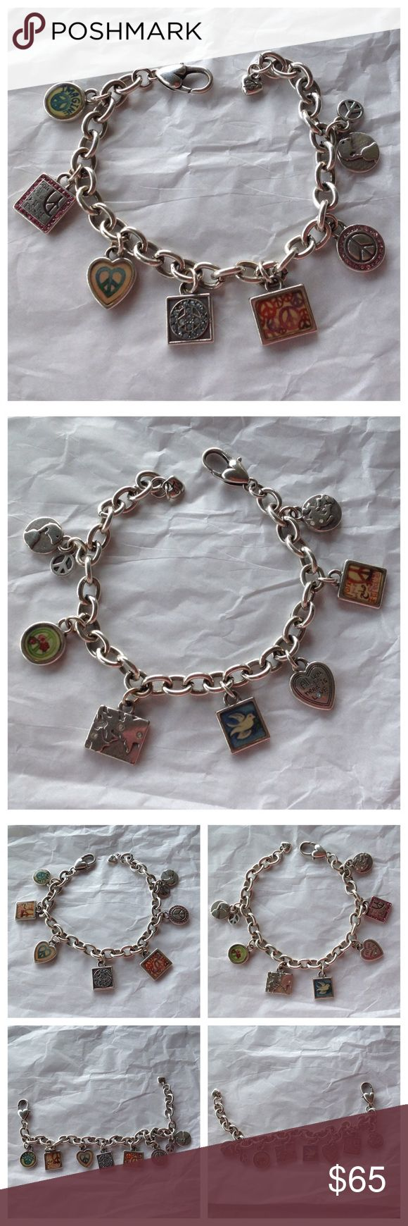 """Beautiful Brighton 2 Sided Charm Bracelet Brighton. Absolutely gorgeous 2 sided charm bracelet. 9"""" with extension. Love this!  Nice sturdy solid bracelet in excellent condition!! Brighton Jewelry Bracelets"""