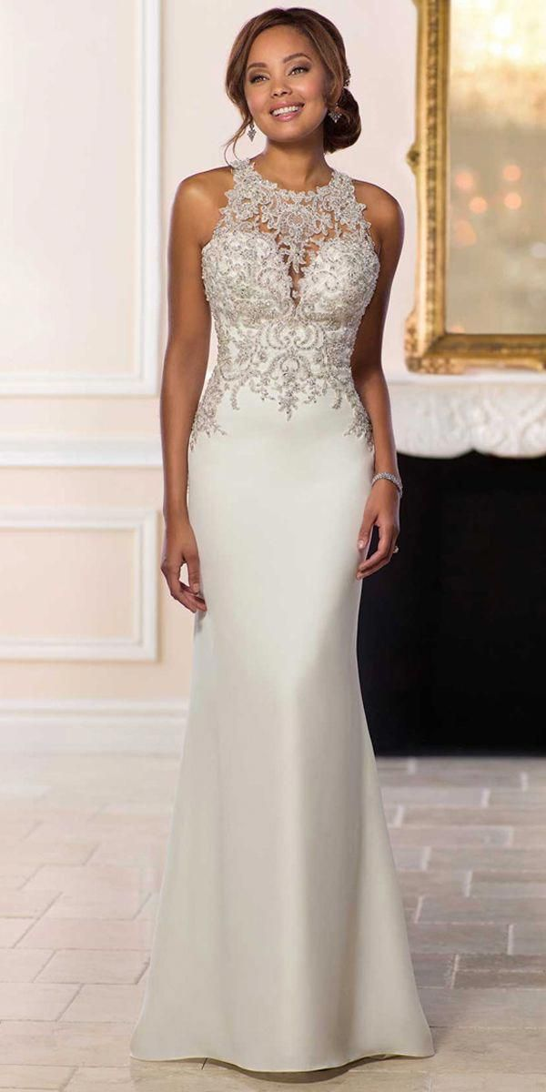 2f009f03c266 Attractive Tulle   Satin Jewel Neckline Natural Waistline Mermaid Wedding  Dress With Beaded Lace Appliques
