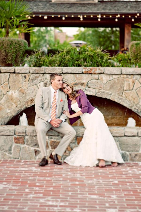 Love this purple cardigan.  Villagio Inn Winery Wedding from Kim & Niki, Photographers | Style Me Pretty