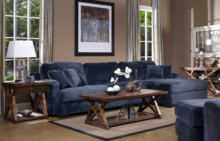 Elegant Living Room Style Using Exciting Navy Blue Sectional Sofa : Outstanding Navy Blue Sectional Sofa White Windows Frames Wooden Coffee Table Gray Ceiling Curtain Wooden Side Table