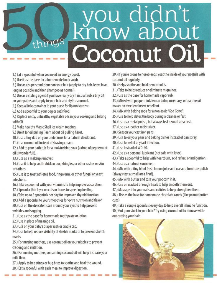 Coconut Oil is absolutely amazing! Believe it or not, this is only a partial list!  I cured my cat of irritable bowl syndrome by adding a teaspoon a day to her food!  I buy my Organic Coconut Oil on Amazon.com.