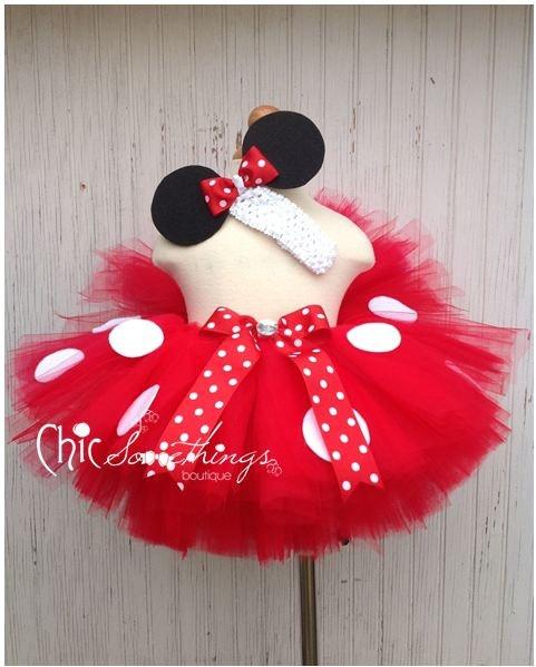 Minnie Mouse Tutu, Baby Tutu and puff headband set, 2T-5T, Photo Prop, Childrens Toddler Infant Tutu, Halloween Costume, Birthday, Mickey. $48.00, via Etsy.