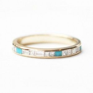Mociun Custom | Baguette and Princess cut White Diamonds and Turquoise Wedding Band