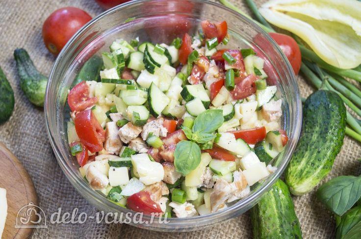 Овощной салат с курицей #салаты #овощи #курица #рецепты #деловкуса #готовимсделовкуса