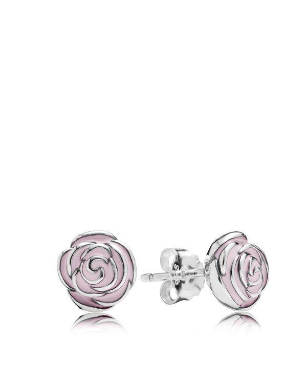 Pandora Diamond Stud Earrings: Sterling Silver & Enamel Rose
