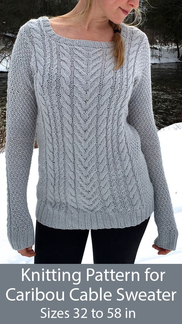 Knitting Patterns For Caribou Cabled Sweater Sizes 32 To 58 In In 2020 Cable Knit Sweater Pattern Cable Sweater Pattern Sweater Knitting Patterns