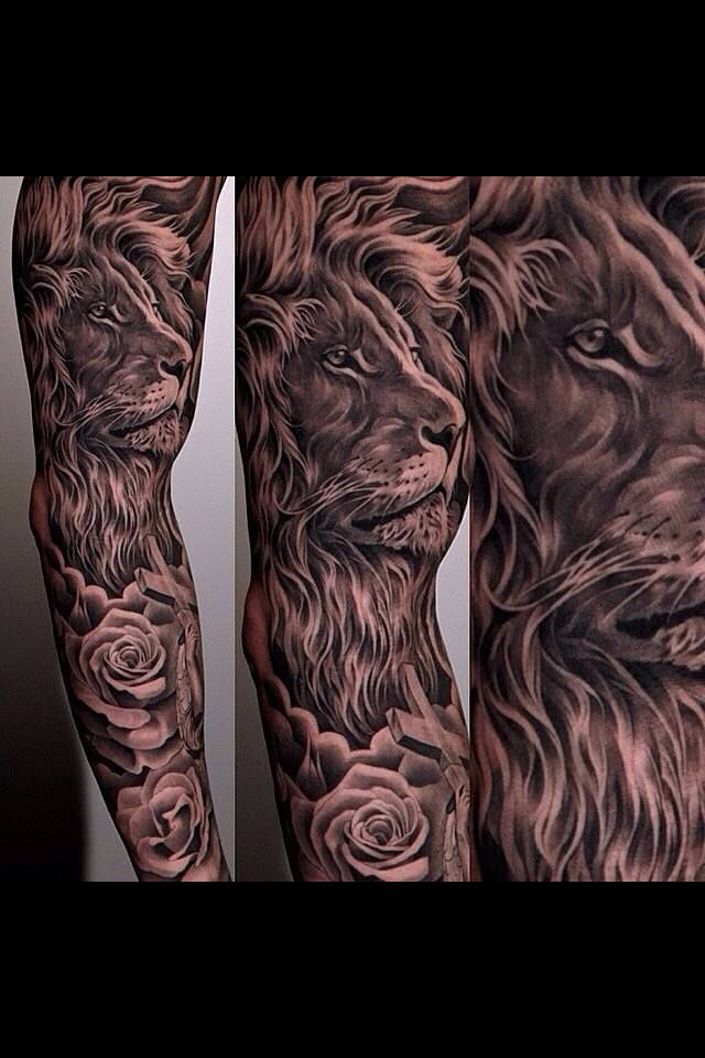 Epic lion sleeve by Jun Cha #JunCha #lion #tattoo #rose