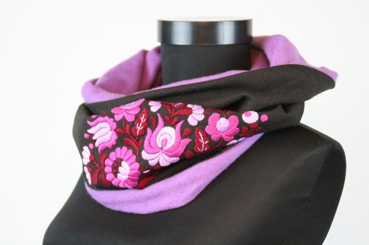 READY TO SHIP - Womans tube scarf - cowl scarf - circle scarf - hungarian gift - matyo embroidery - violet brown - weave - hand embroidered by MatyoKid on Etsy