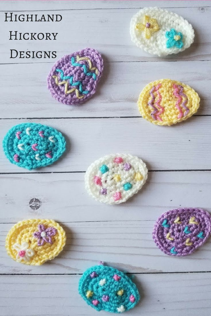 5c5e3e31bd5 Crochet these sweet little Easter Egg Appliques with this free pattern.  They are very easy and beginner friendly and you can attach them to hats