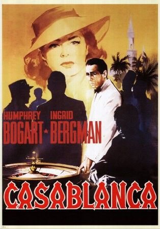 Casablanca is a 1942 American romantic drama film directed by Michael Curtiz and based on Murray Burnett and Joan Alison's unproduced stage play Everybody Comes to Rick's. The film stars Humphrey Bogart, Ingrid Bergman, and Paul Henreid; it also features Claude Rains, Conrad Veidt, Sydney Greenstreet, Peter Lorre, and Dooley Wilson. https://en.wikipedia.org/wiki/Casablanca_(film)