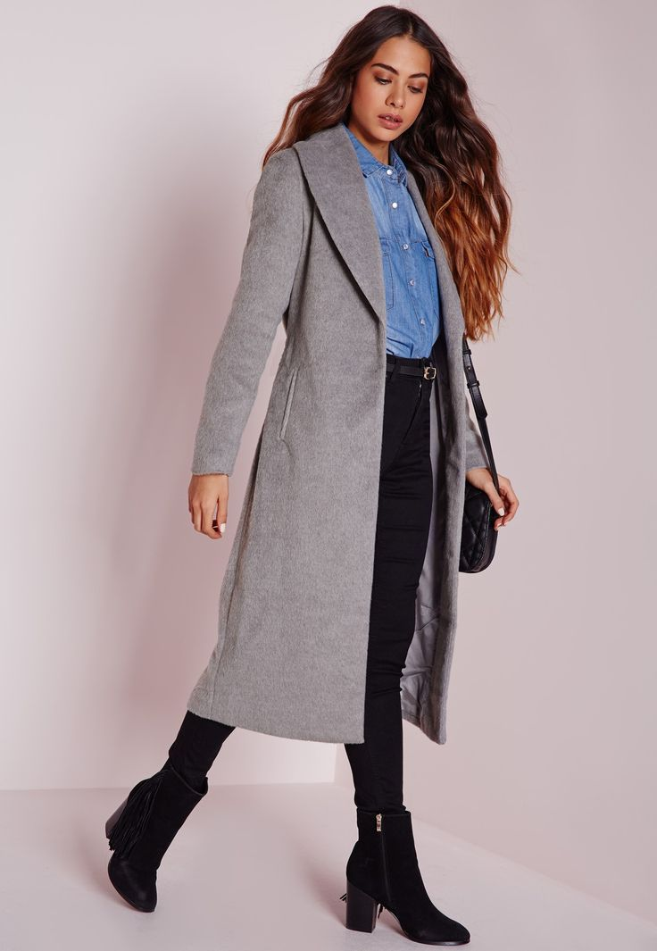 Missguided - Brushed Wool Belted Robe Coat