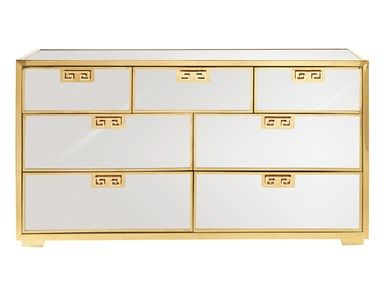 Mirrored chest of drawers with gold greek key accents. Available at Avenue Design Canada in Montreal Qc