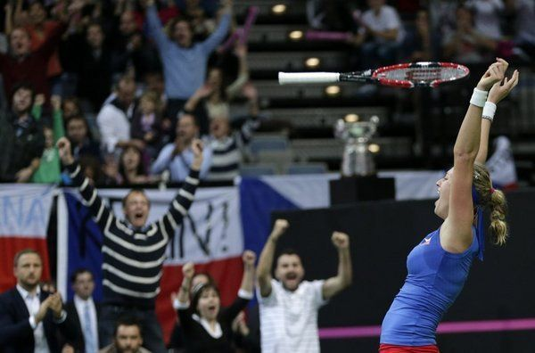 Petra Kvitova of #TeamCZE leads country to #FedCup2014 Crown! Petra Kvitova, the Championships, Wimbledon Champion and World #4, beat #10-ranked Angelique Kerber in a three-setter 7-6 (7/5), 4-6, 6-4 in 2 hrs and 57 mins.  The Czechs won the tie 3-1 after Germany's Julia Goerges and Sabine Lisicki beat a reunited Czech pair of Andrea Hlavackova and Lucie Hradecka 6-4, 6-3 in Sunday's dead doubles rubber.