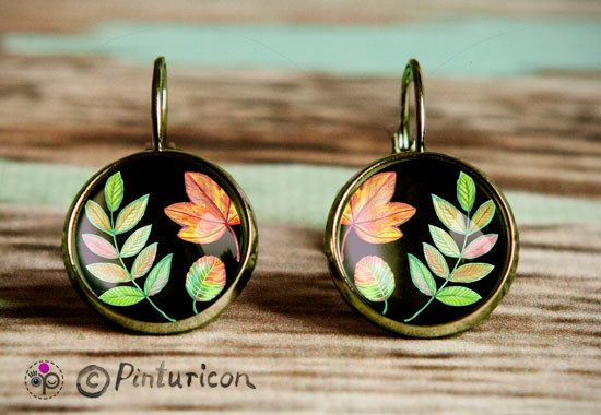 Leaf Earrings Glass Cabochon Earrings Dangle by Pinturicon on Etsy