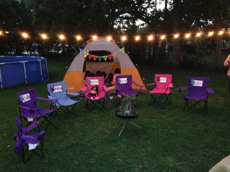 Girls Glamping Party! Easy set up... Tent, chairs, and a fire of course.