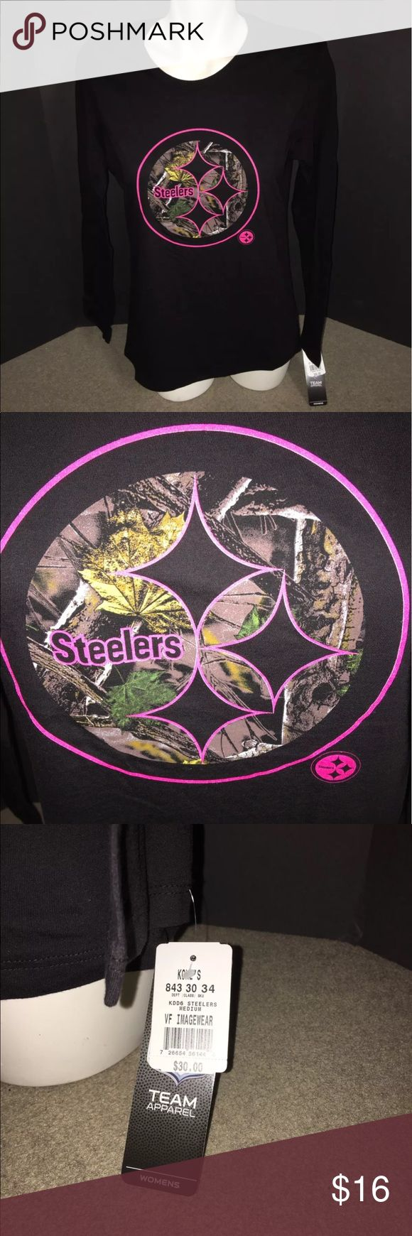 NWT Majestic Pittsburgh Steelers Women's Shirt Med Brand new with tags Ships as shown in the pictures  Majestic Pittsburgh Steelers NFL LongSleeve Pink Camouflage logo on chest Women's Size Medium Majestic Tops Tees - Long Sleeve