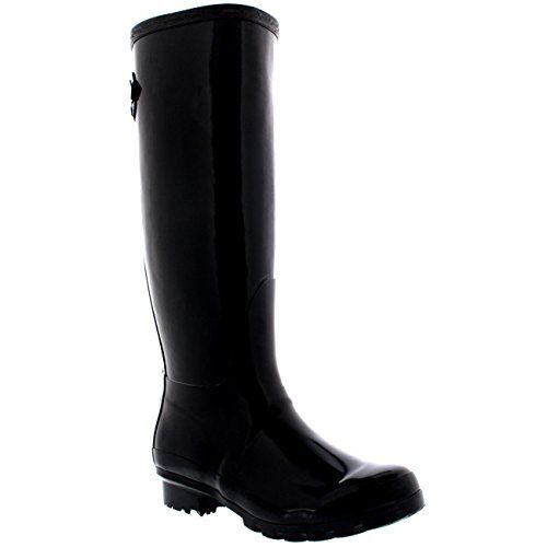 Womens Adjustable Back Tall Gloss Wellington Winter Wellies Snow Rain Boots  - Black - 8 -
