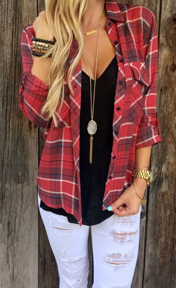 Shirt is WAY too low, but I like the idea of jeans, plain T, flannel, and long necklace