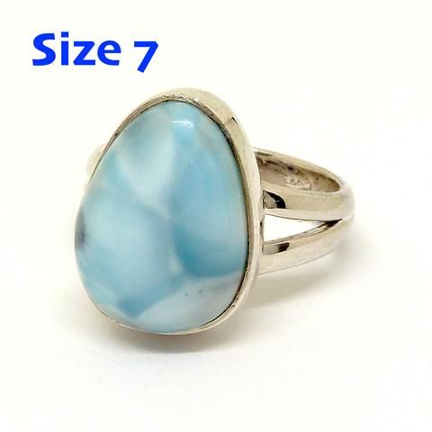Larimar Ring 925 Sterling Silver   US Size 7   Dominican Republic Caribbean   Leo Stone   Pectolite   Crystal Heart Melbourne Australia since 1986
