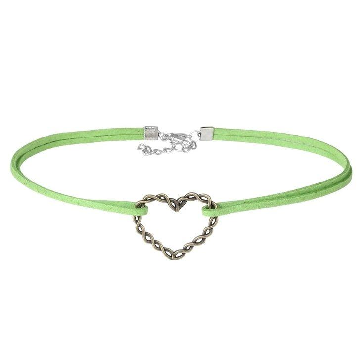 Green Velvet Double Choker Necklace with Heart Pendant