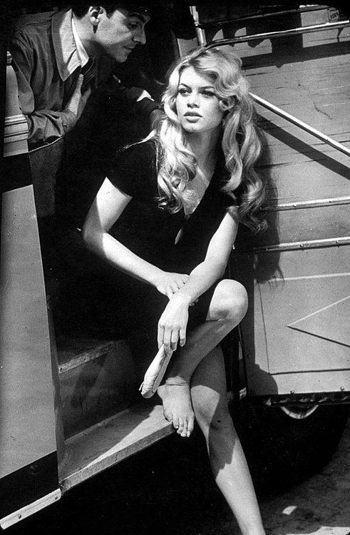 Brigitte Bardot on the set of La Femme et le Pantin, photographed by Loomis Dean , 1958