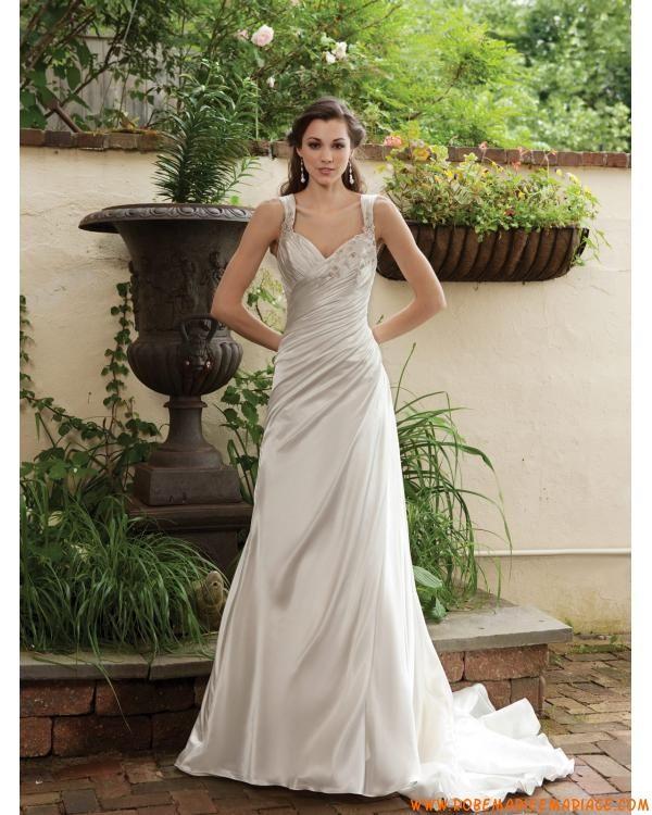 Robe de mariée A-ligne avec bretelles ornée des plis et des perles jupe longue avec traîne courte en satin soyeux pas chère