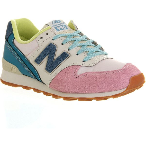 New Balance Wr996 (88 NZD) ❤ liked on Polyvore featuring shoes, sneakers, trainers, hers trainers, pink blue white, new balance, genuine leather shoes, leather trainers, light weight shoes and blue and white shoes