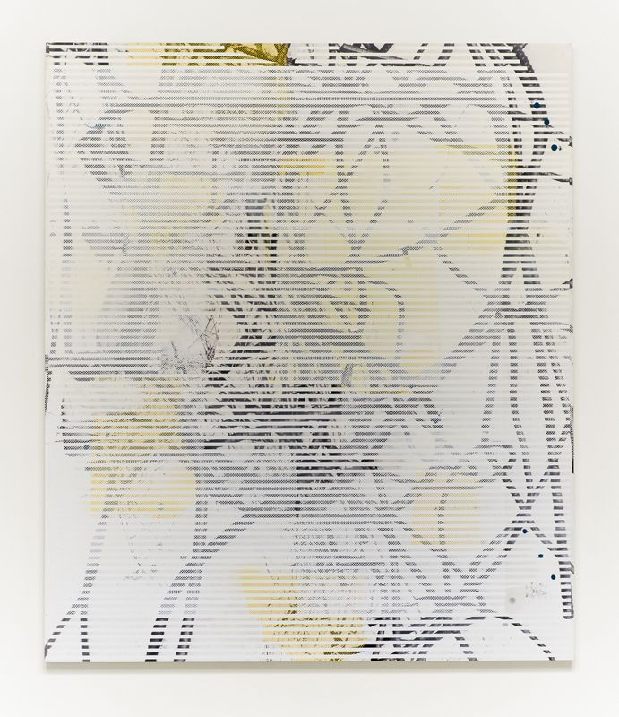 """""""Untitled (rebar 1)"""", 2013, acrylic, oil, and UV cured ink on canvas over panel, 84"""" x 72"""""""