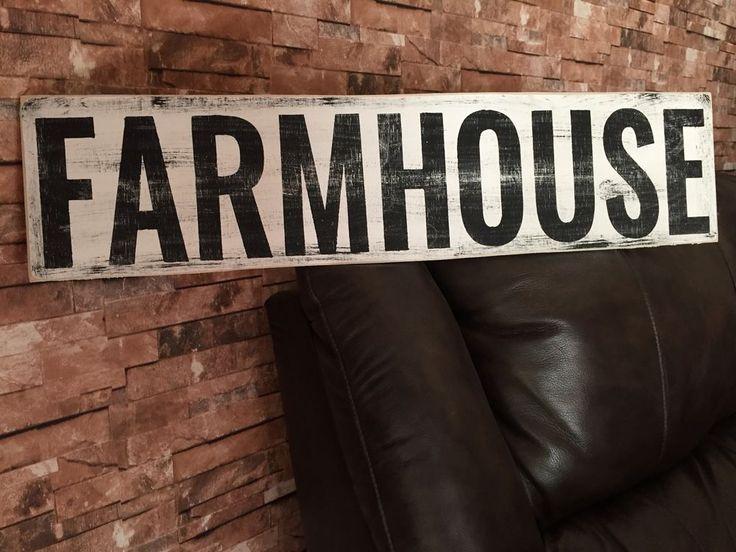 Large Farm House Rustic Kitchen Fixer Upper Style White Wood Sign #subwaysign