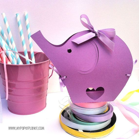 Purple Elephant Baby Shower gift boxes. Baby shower, gifts, first birthday. Elephant Ribbon boxes. Gift bags, treats, favors.