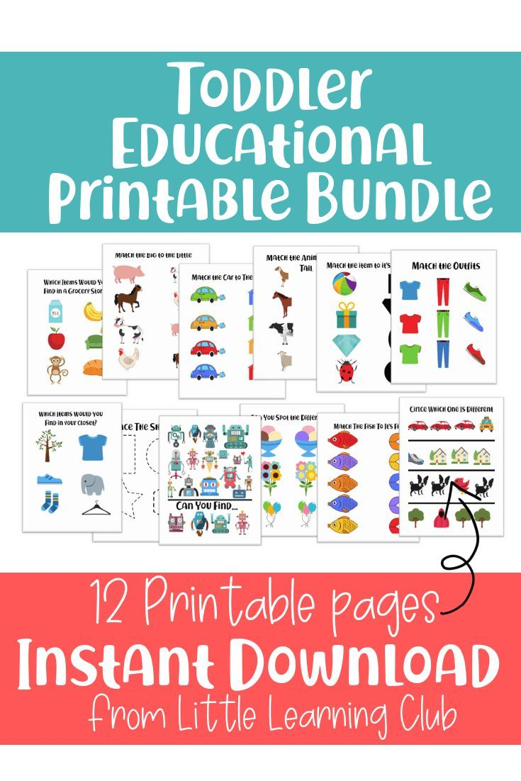 Educational Activity Bundle For Toddlers Printable Worksheets For Toddlers Co Kids Learning Activities Activities For 2 Year Olds Toddler Learning Activities