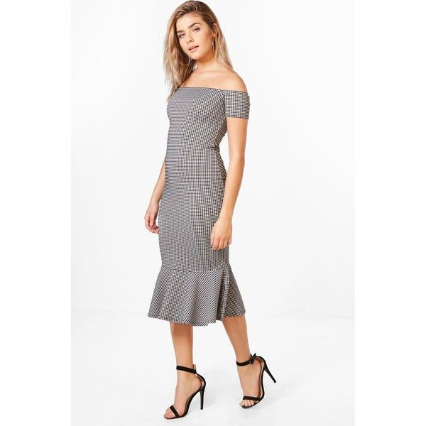 Boohoo Krissy Flute Hem Gingham Midi Dress ($36) ❤ liked on Polyvore featuring dresses, white party dresses, bodycon party dresses, bodycon mini dress, jersey maxi dress and bodycon midi dress