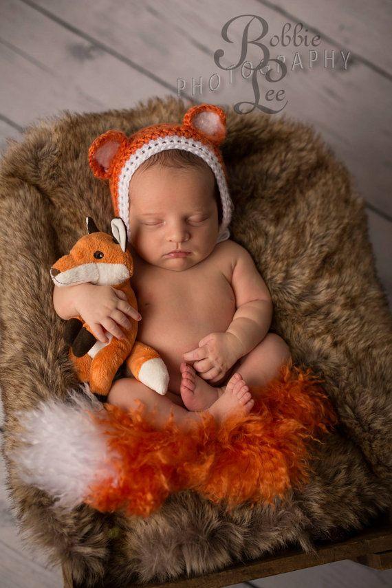 Fox bonnet and fluffy tail newborn baby photo prop set-Newborn fox outfit 9f32535ffed0