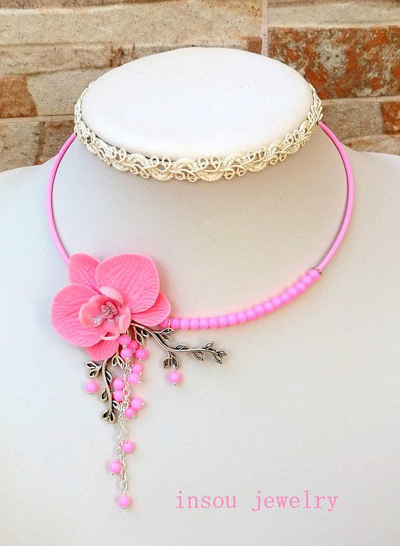 Pink Necklace  Flower Necklace Orchid Necklace Statement