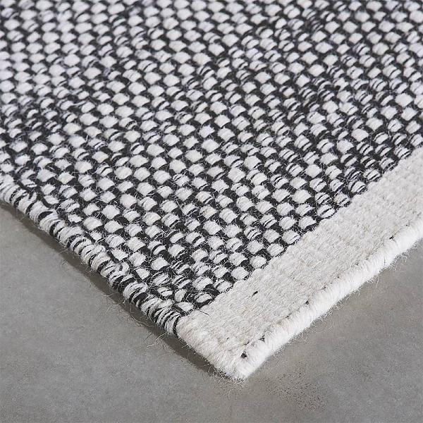 Vloerkleed wol Teppe Zwart/wit
