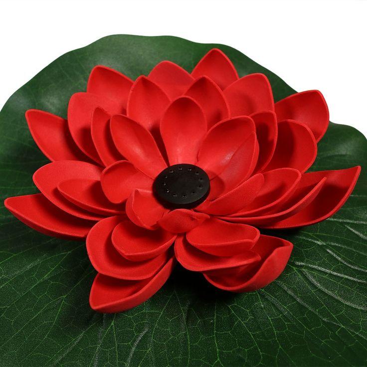 Sunnydaze Floating Lotus Flower Solar Powered Water 400 x 300