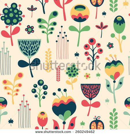 Colorful floral seamless pattern on light background. #floralpattern #flatdesign #vectorpattern #patterndesign #seamlesspattern