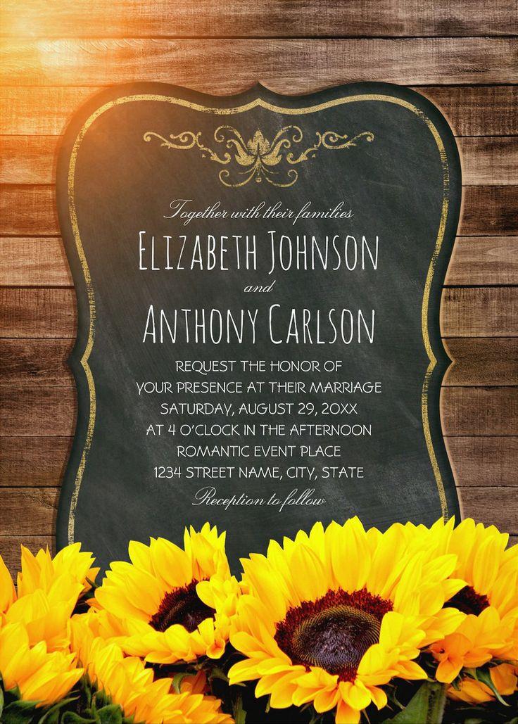 sunflower wedding invitations printable%0A Creative Country Sunflower Wedding Invitations Best Vintage Rustic Invite