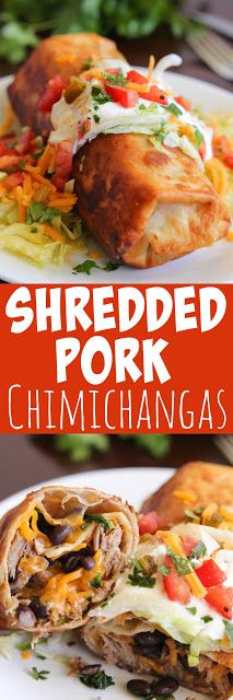 Shredded Pork Chimichangas - Tender and juicy pork, beans and cheese stuffed inside a crispy chimichanga.