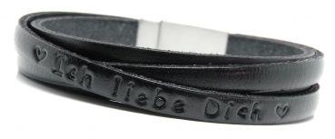 """LEDER-schmuck.de - Armband Leder """"über Kreuz"""" mit Gravur / Prägung"""
