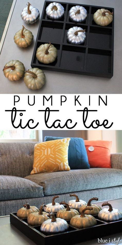 PUMPKIN TIC TAC TOE! Swap out those Xs and Os for two colors of pumpkins. It's a fun game for the whole family throughout Halloween and Thanksgiving, and a stylish addition to your fall decor. Quick and easy to DIY!