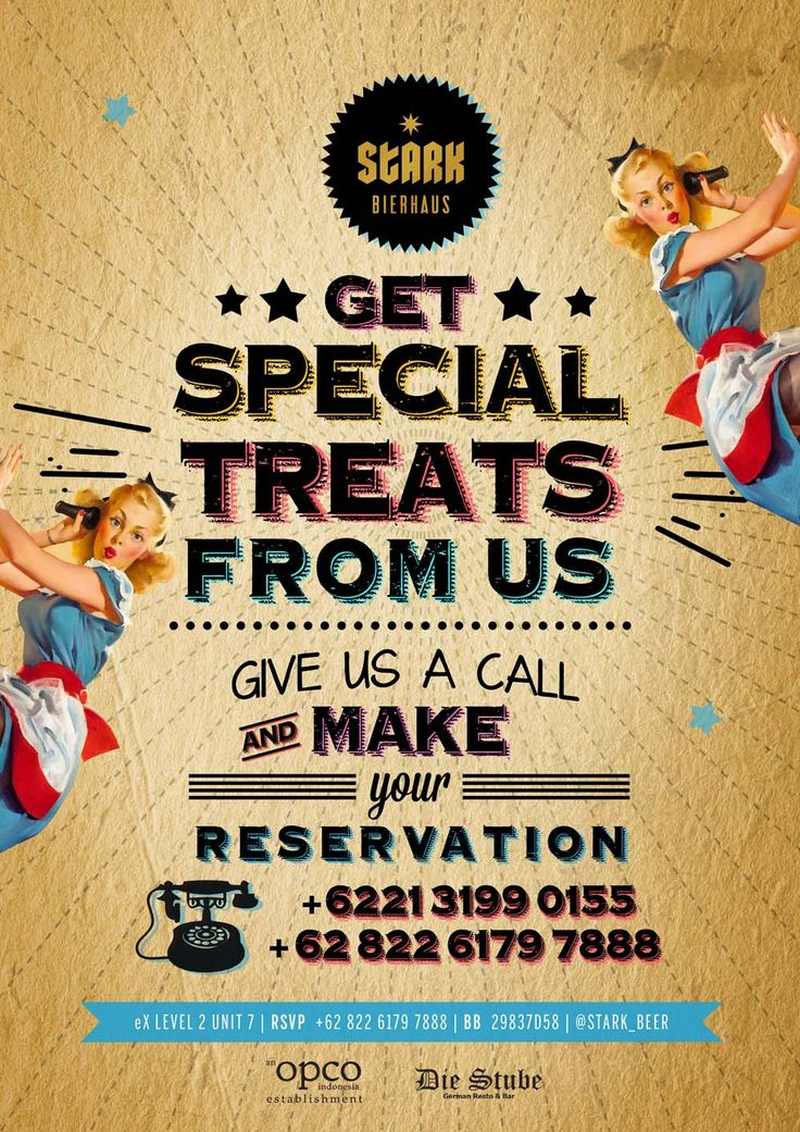 Make your reservation and get special treats ;)