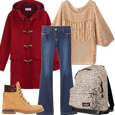 Per la fredda stagione, ritorna in auge il montgomery. Molto bello questo rosso, dotato di cappuccio, chiuso da quattro alamari e tasche con patta. Sotto, indosseremo un simpatico pull con scollo rotondo e a maglia grossa, ricamata, con frange. I jeans tendenza anni '70 sono svasati sul fondo per ricadere su uno scarponcino sportswear cammello. Lo zaino è in tessuto tecnico e fantasia leopardata.