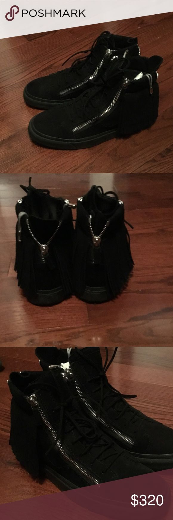 Giuseppe Men's Sneakers Selling Black Suede Giuseppe Fringe Sneakers size 46 (13). Worn 3x. Comes with dust bag. 100% Authentic. No bs offers Giuseppe Zanotti Shoes Sneakers