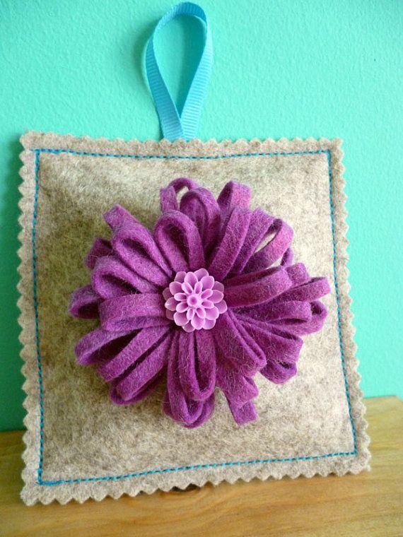 Wool felt lavender bag with felt flower by ColourSplashbyCath, £7.50