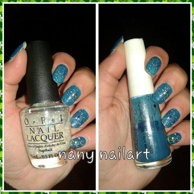 Nail polish : azul perfecto de avon y snow globebrotter de opi