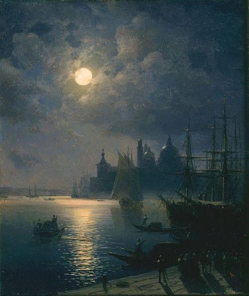 Venezia. Ivan Aivazovsky: Venezia di notte. Olio su tela del 1870 circa. Locazione sconosciuta. La Chiesa di Santa Maria della Salute e la Dogana, viste dalla Riva degli Schiavoni.