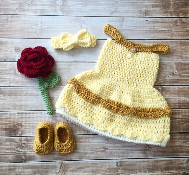Princess Belle Beauty and the Beast Inspired Costume/Crochet Princess Belle Dress/Princess Photo Prop Newborn to 12 Months- MADE TO ORDER by mamamegsyarnshoppe on Etsy https://www.etsy.com/au/listing/347014213/princess-belle-beauty-and-the-beast